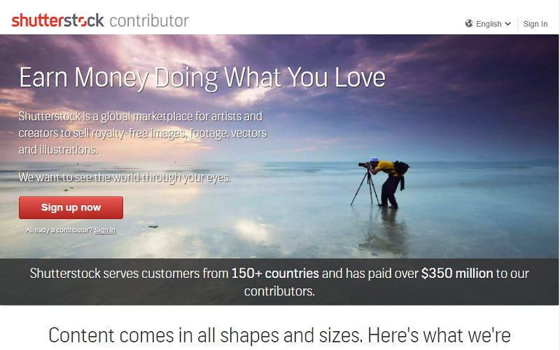 Shutterstock Contributor account signup
